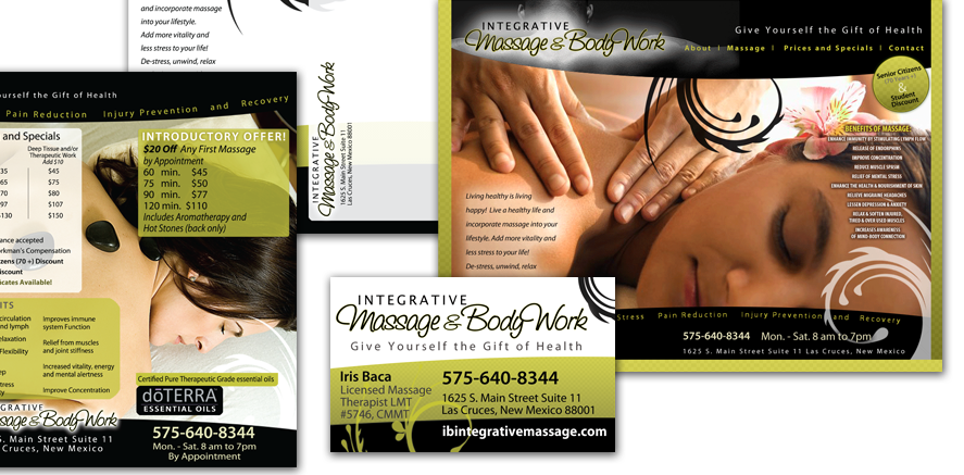 Integrative Massage & Body Work: Brochure, Business Card, Website